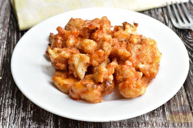 Фото к рецепту: Запечённая цветная капуста в томатно-медовом соусе