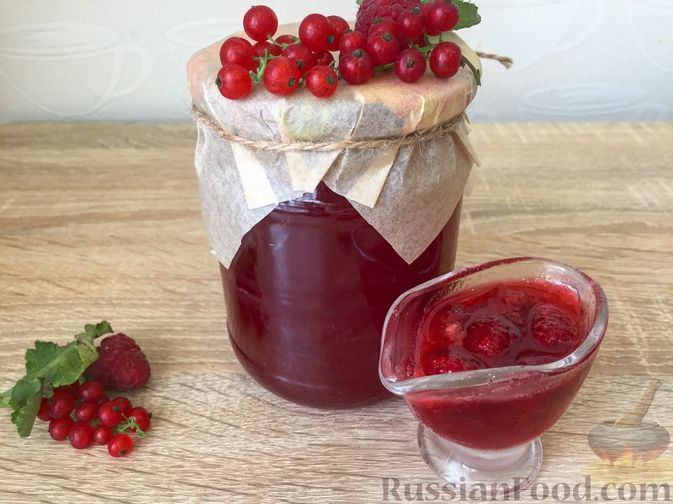 Фото к рецепту: Джем из красной смородины и малины