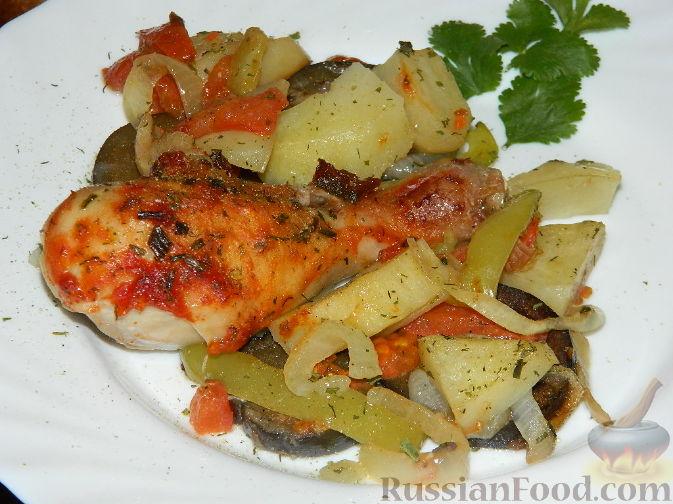 Рецепт Простое овощное рагу с курицей