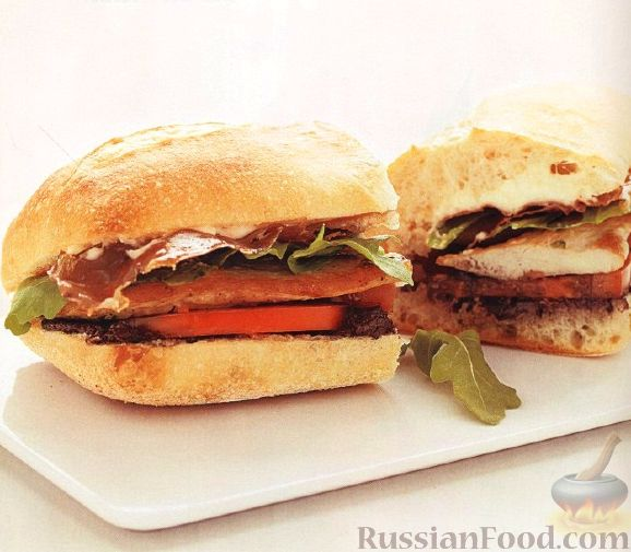 Рецепт Сэндвичи с куриными отбивными и ветчиной