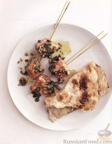 Рецепт Шашлыки из лосося с арахисовым соусом