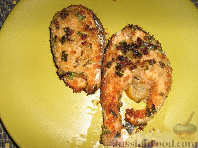 Рецепт Лосось панированный, запеченный в духовке