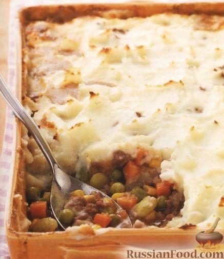 Рецепт Овощи, запеченые с мясом и картофельным пюре
