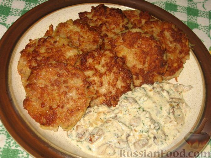 Рецепт Мясокартофельные оладьи с грибами
