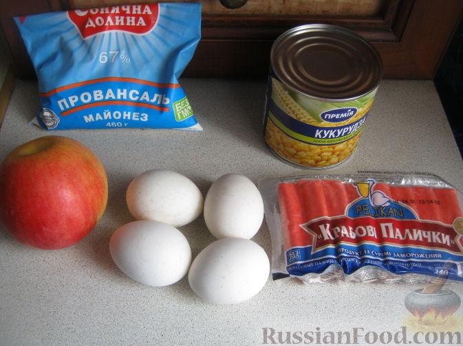 Пошаговый рецепт салата из крабовых палочек с кукурузой