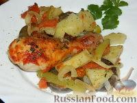 Фото к рецепту: Простое овощное рагу с курицей
