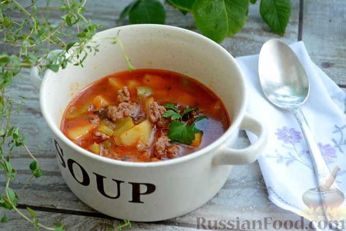 Фото к рецепту: Томатный суп с фаршем