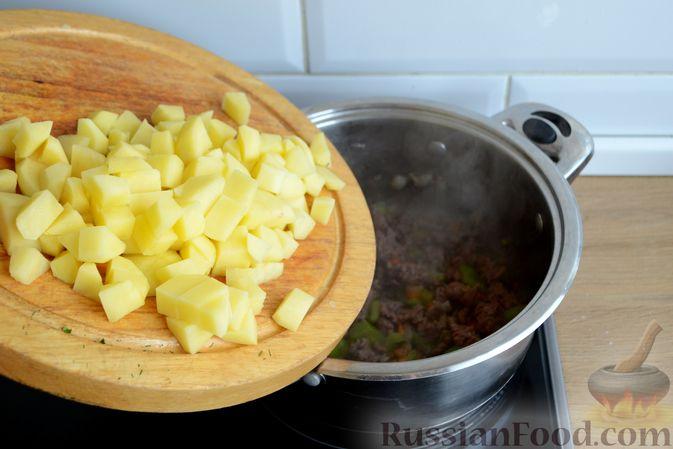 Фото приготовления рецепта: Томатный суп с фаршем - шаг №8