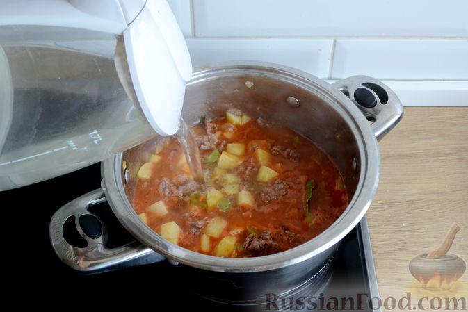 Фото приготовления рецепта: Томатный суп с фаршем - шаг №11