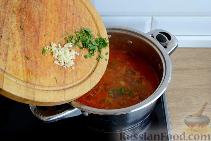 Фото приготовления рецепта: Томатный суп с фаршем - шаг №13