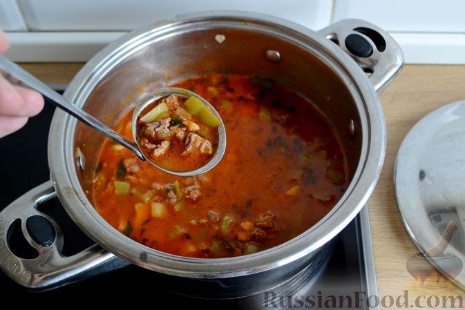 Фото приготовления рецепта: Томатный суп с фаршем - шаг №14