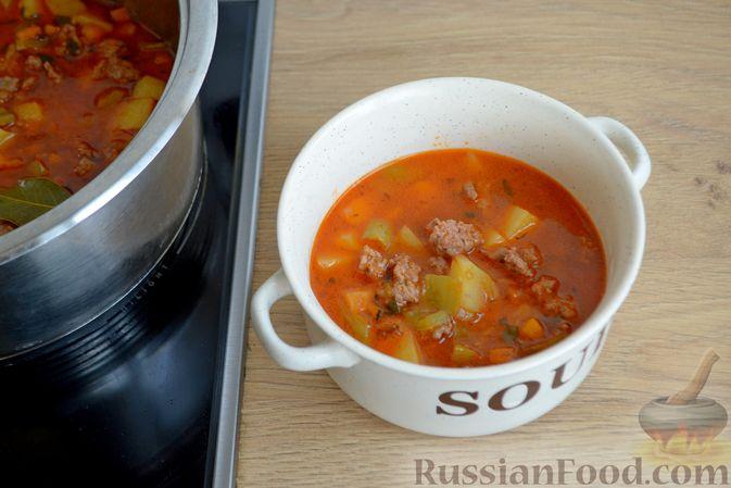 Фото приготовления рецепта: Томатный суп с фаршем - шаг №15