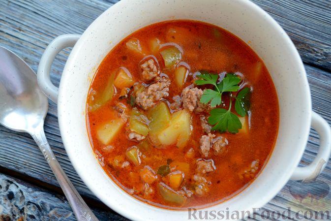 Фото приготовления рецепта: Томатный суп с фаршем - шаг №16