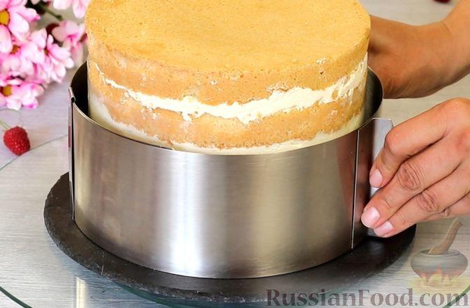 Фото приготовления рецепта: Медовый торт-мусс с малиной - шаг №27