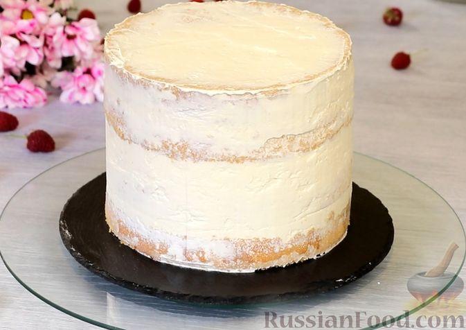 Фото приготовления рецепта: Медовый торт-мусс с малиной - шаг №29