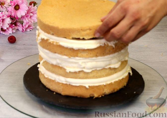 Фото приготовления рецепта: Медовый торт-мусс с малиной - шаг №26