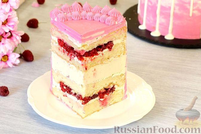 Фото к рецепту: Медовый торт-мусс с малиной