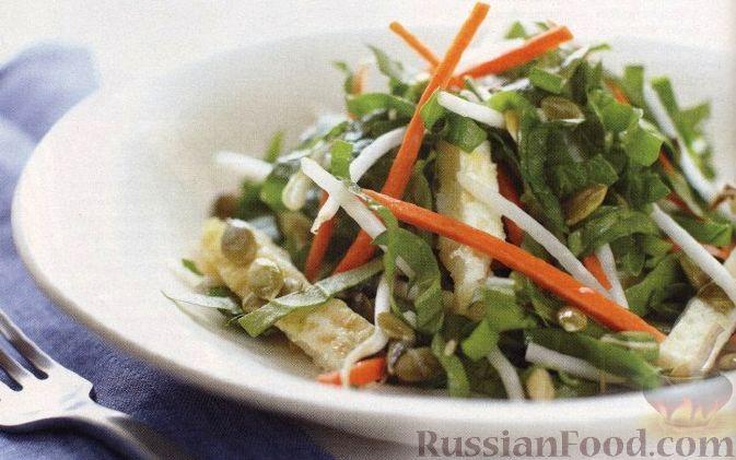 Рецепт Салат с омлетом и ростками фасоли