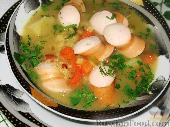 Рецепт Суп из чечевицы с сосисками