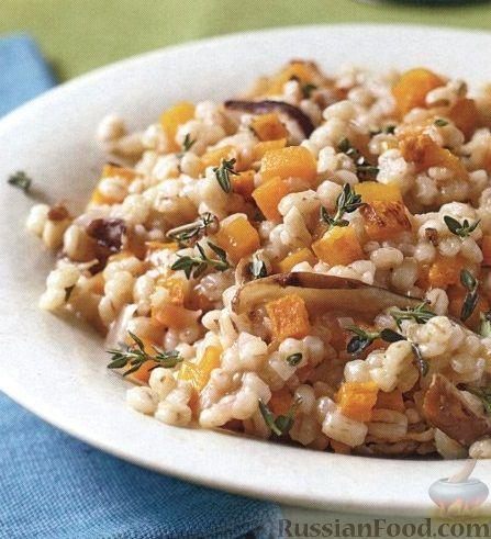 Рецепт Перловая каша с тыквой и грибами
