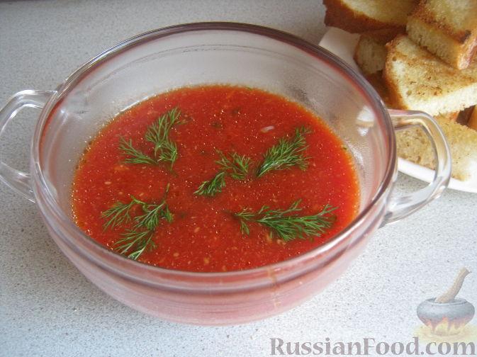 "Рецепт Суп ""Помидорное чудо"" с гренками"
