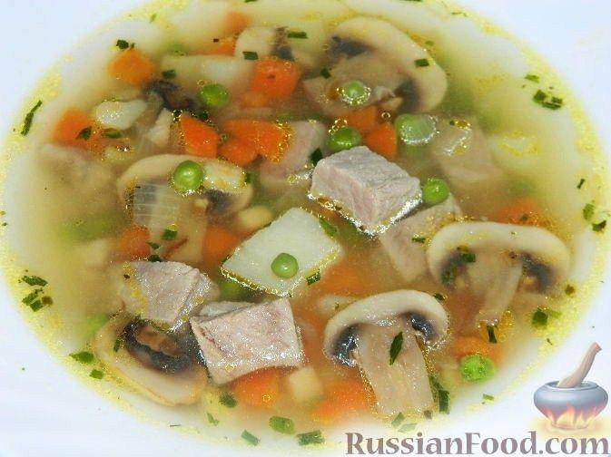 Рецепт Суп из свинины с шампиньонами и горошком