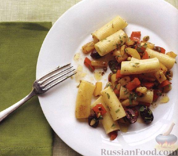 Рецепт Макароны с орешками, оливками, каперсами и болгарским перцем