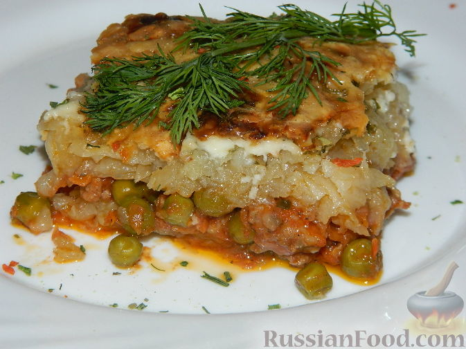 Рецепт Картофельная запеканка с зеленым горошком и фаршем