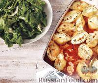 Фото к рецепту: Ракушки, фаршированные сыром и шпинатом