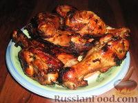 Фото к рецепту: Крылья индейки в медово-соевом соусе