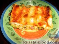Фото к рецепту: Лазанья с цуккини, беконом и копченым сыром