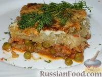 Фото к рецепту: Картофельная запеканка с зеленым горошком и фаршем