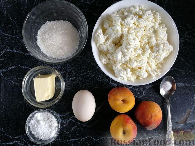 Фото приготовления рецепта: Творожная запеканка с персиками, без муки (в микроволновке) - шаг №1