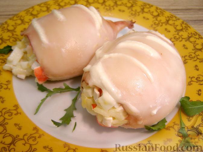 Рецепт Кальмары, фаршированные крабовым салатом