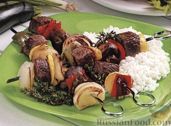 Рецепт Шашлыки из говядины и овощей