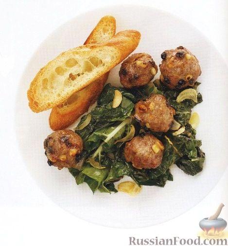 Рецепт Мясные шарики c жареным шпинатом