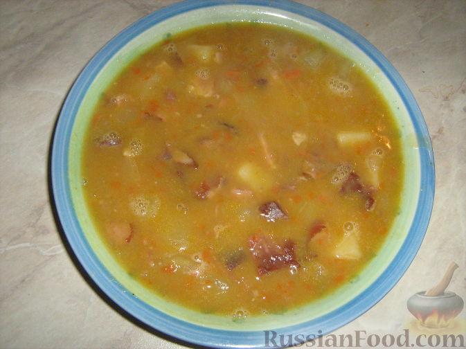Рецепт Гороховый суп с копченостями и грибами