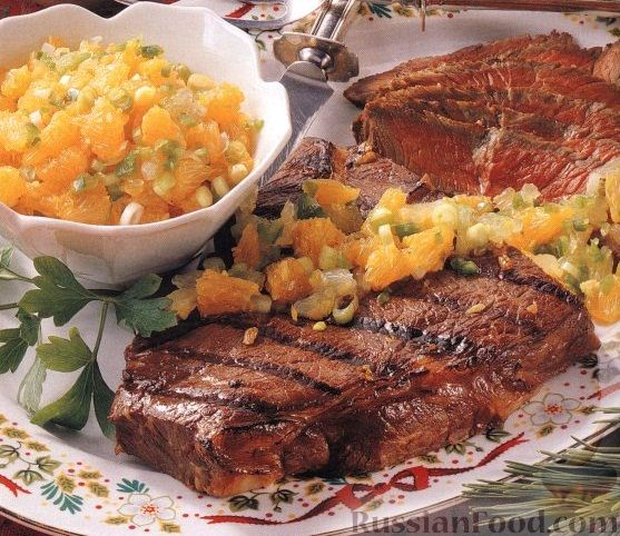 Рецепт Говяжий стейк с цитрусовой сальсой
