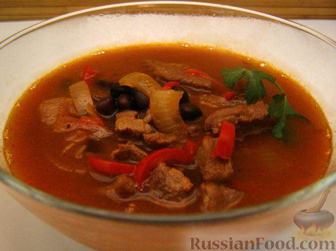 Рецепт Говяжий суп с черной фасолью и перцем