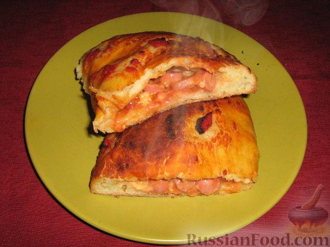 Рецепт Кальцоне с моцареллой и сосисками
