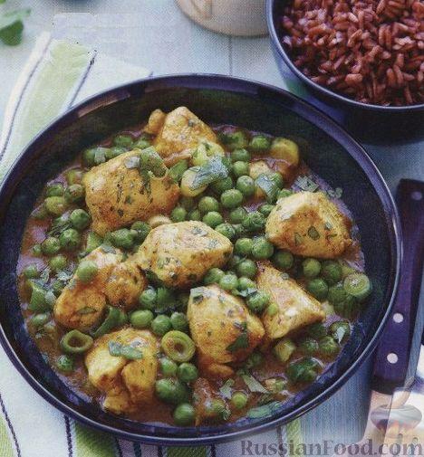 Рецепт Курица карри с зеленым горошком