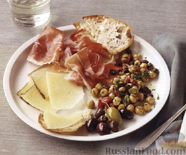 Рецепт Закуска из сырной и ветчинной нарезки