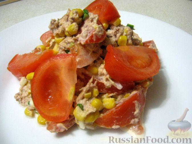 Рецепт Салат из помидоров с тунцом