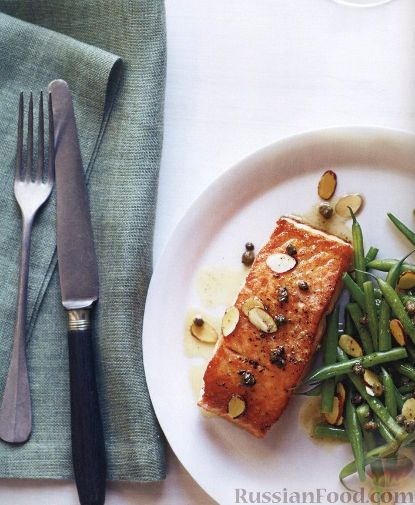 Рецепт Жареный лосось со стручковой фасолью