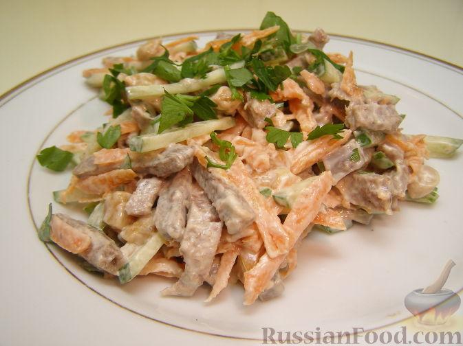 Рецепт Салат из языка и свежих овощей