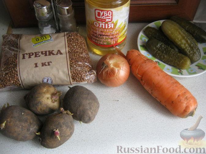Фото приготовления рецепта: Рассольник с гречкой постный - шаг №1