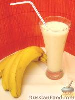 """Фото к рецепту: Молочно-банановый коктейль """"Сладкоежка"""""""