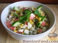 Фото к рецепту: Классический салат из крабовых палочек
