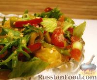 Фото к рецепту: Салат с семгой, апельсином и кунжутом