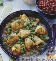 Фото к рецепту: Курица карри с зеленым горошком